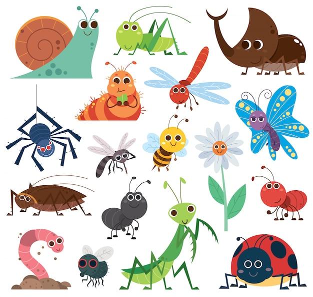 かわいい昆虫セット。漫画の昆虫。