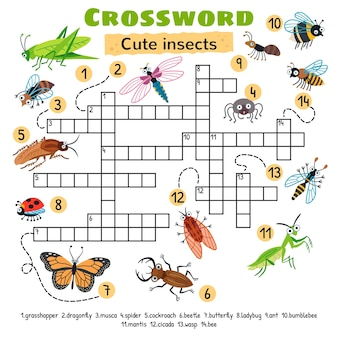 Кроссворд с милыми насекомыми. рабочий лист для детей дошкольного возраста