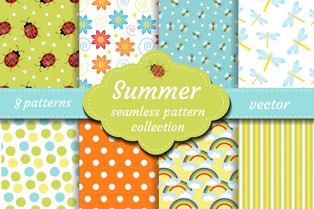 Cute insects seamless pattern set. spring collection of ladybug and abstract repeating textures. summer kids bee background, paper, wallpaper. illustration.