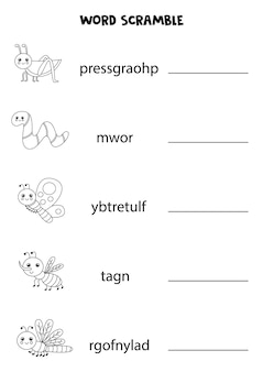 Cute insects word scramble for kids. sort letters into correct order. worksheet for children.