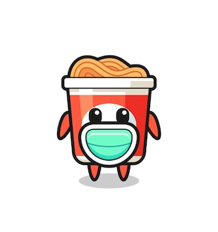 Cute instant noodle cartoon wearing a mask , cute style design for t shirt, sticker, logo element