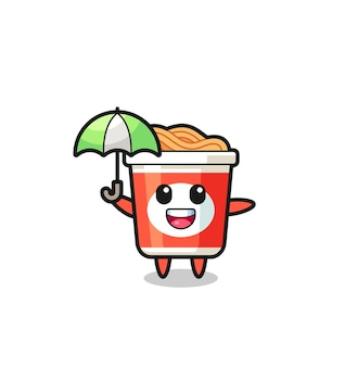 Cute instant noodle illustration holding an umbrella , cute style design for t shirt, sticker, logo element