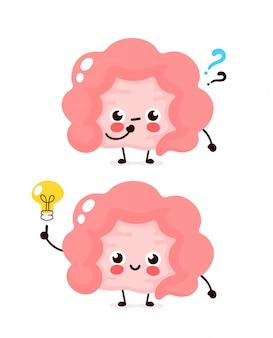 Милая кишка с вопросительным знаком и лампочкой персонажа. плоский мультипликационный персонаж иллюстрации значок изолированные на белом. кишечник есть идея