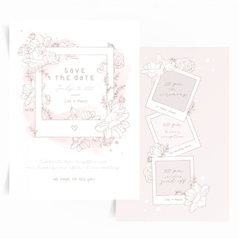 Cute invitation card with polaroid photo frame and flowers
