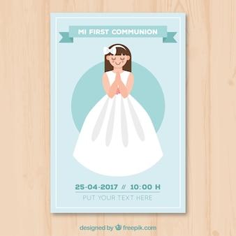 Cute invitation of first communion girl