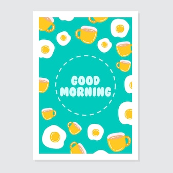 Cute invitation and greeting card template with bright good morning writing
