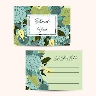 花飾り付きのかわいい招待状のテンプレート