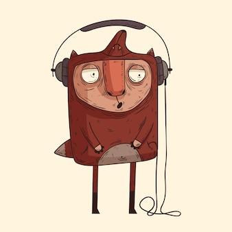 かわいい孤立した陽気な音楽愛好家