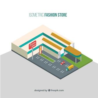 Carino vista isometrica di un negozio di moda