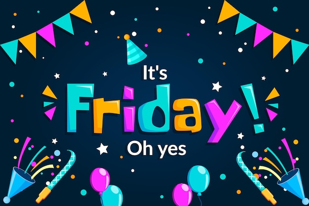 Cute it's friday oh yes background Free Vector