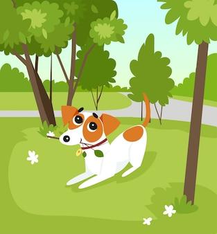 公園、夏の風景イラストで棒で走っているかわいいジャックラッセルテリア犬