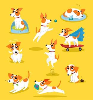 かわいいジャックラッセルテリアセット、さまざまな状況で面白いペットの犬のキャラクター漫画イラスト