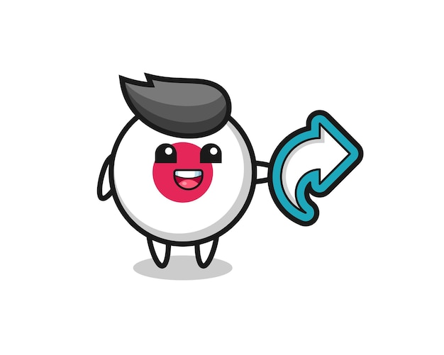 Cute japan flag badge hold social media share symbol , cute style design for t shirt, sticker, logo element