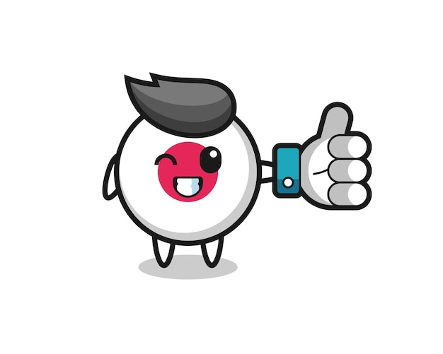 Cute japan flag badge with social media thumbs up symbol , cute style design for t shirt, sticker, logo element