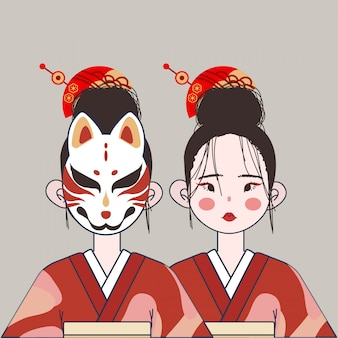 Cute japan girl with traditional costume and mask illustration.