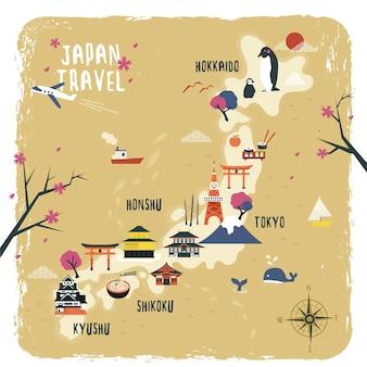 Симпатичный дизайн карты путешествия японии с достопримечательностями