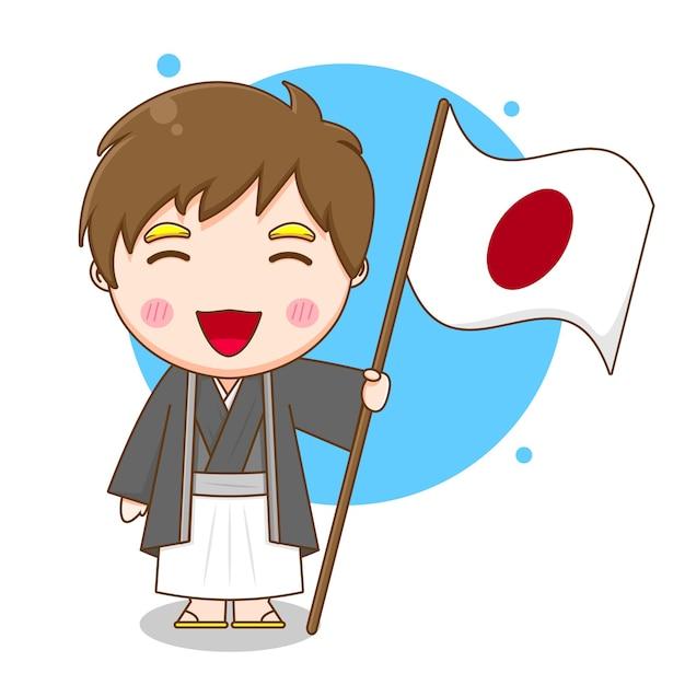 旗を保持しているかわいい日本の少年
