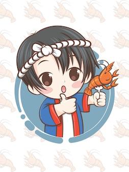 Милый японский шеф-повар представляет креветки на гриле, эби-сиояки - мультипликационный персонаж.