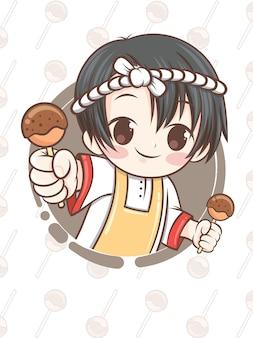 Cute japanese chef presenting takoyaki food - cartoon character.