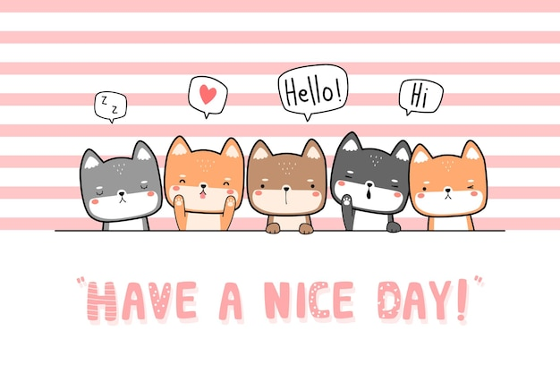 Cute japanese dog shiba inu friends greeting cartoon doodle flat design card