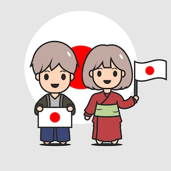 Cute japanese flag character
