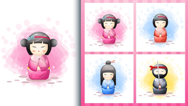 Набор иллюстраций милой японской куклы кокэси