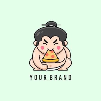 Cute japanese sumo eating pizza logo