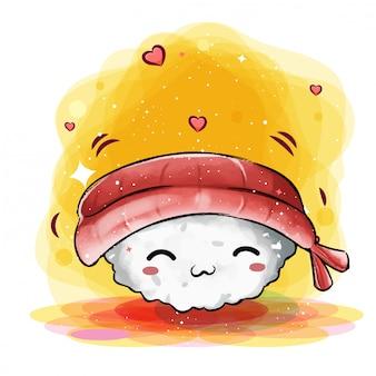 幸せそうな顔でかわいい日本の寿司笑顔
