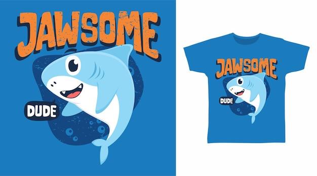 Симпатичный дизайн футболки с акулой