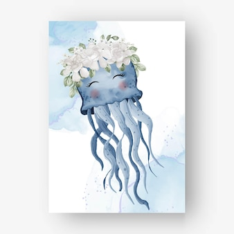 Cute jelly fish with flower white watercolor illustration