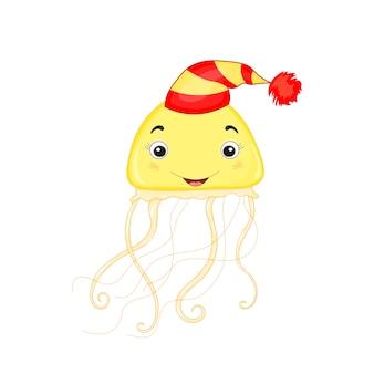 귀여운 해파리. 만화 그림.
