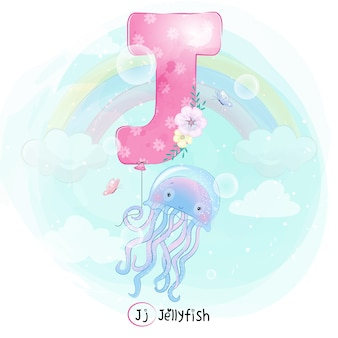 Cute jellyfish flying with alphabet-j balloon