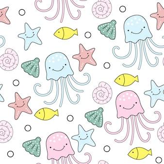 Cute jellyfish seamless pattern