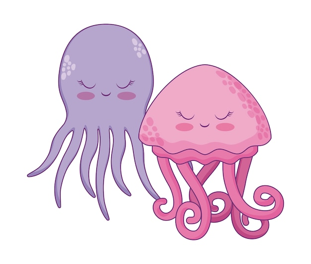 Cute jellyfish with octopus
