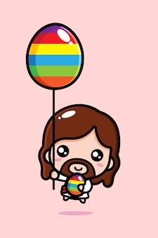 Cute jesus christ flying with decorative egg balloon