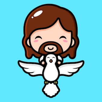 Cute jesus christ flying with a dove