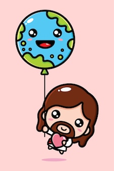 Cute jesus christ flying with earth balloon