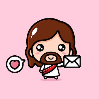 Cute jesus christ holding a letter