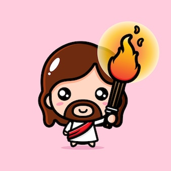 Cute jesus christ holding a torch