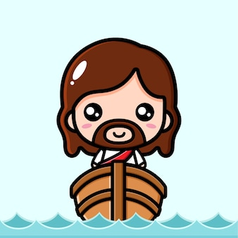 Cute jesus christ is on the boat
