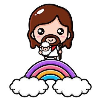 かわいいイエス・キリストは羊と一緒に虹の中にいます