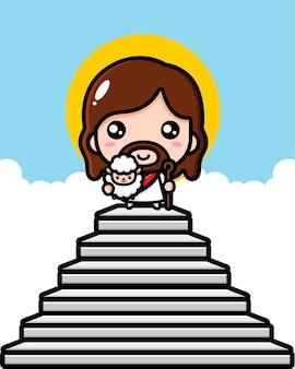 かわいいイエス・キリストは羊と一緒に天国のはしごにいます