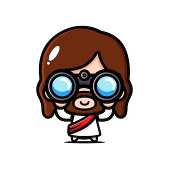 双眼鏡で探しているかわいいイエス・キリスト