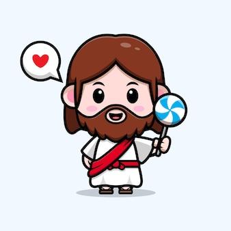 Cute jesus christ love lollipop candy vector cartoon christian illustration