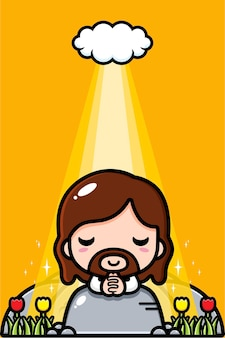 Cute jesus christ praying