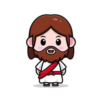 Cute jesus christ vector cartoon christian illustration