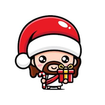 サンタの帽子をかぶっているかわいいイエス・キリスト
