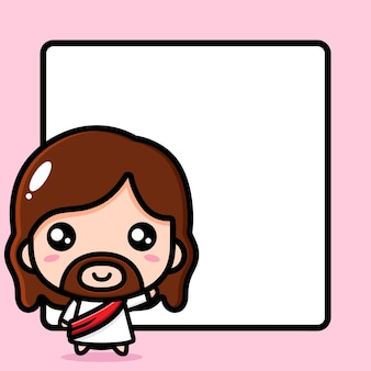 Cute jesus christ with blank text board