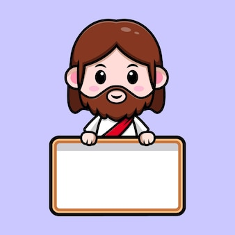 Cute jesus christ with blank white board vector cartoon christian illustration