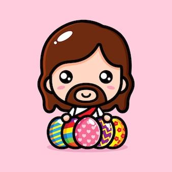 부활절 장식 달걀으로 귀여운 예수 그리스도